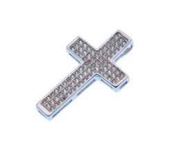 Silver Cross With White Zircons