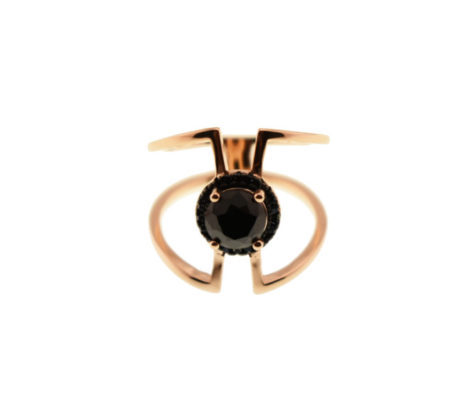 Δαχτυλίδι με Ροζ Επιχρύσωση και Μαύρα Ζιργκόν