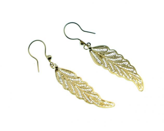 Gold-Plated Traditional Hand Made Silver Earrings (Filigran Art)