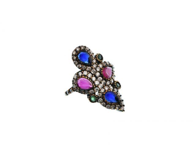 Ασημόχρυσο Δαχτυλίδι με Καρφωτές Πέτρες
