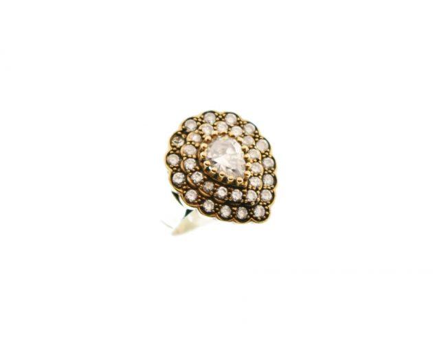 Ασημόχρυσο Δαχτυλίδι με Καρφωτά Ζιργκόν