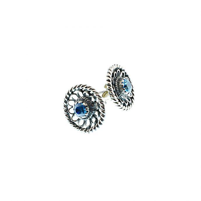 Καρφωτά Σκουλαρίκια με Γαλάζια Ζιργκόν