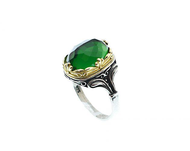 Ασημόχρυσο Δαχτυλίδι με Πράσινο Ζιργκόν