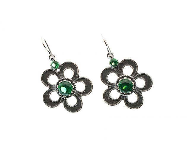 Σκουλαρίκια με Πράσινα Ζιργκόν