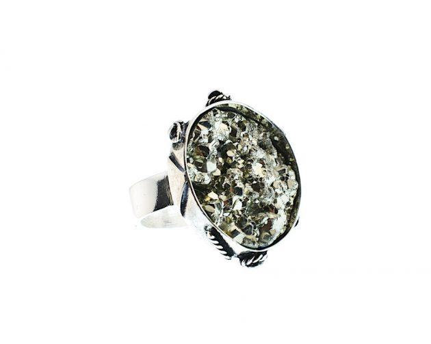 Χειροποίητο Δαχτυλίδι με Σιδηροπυρίτη